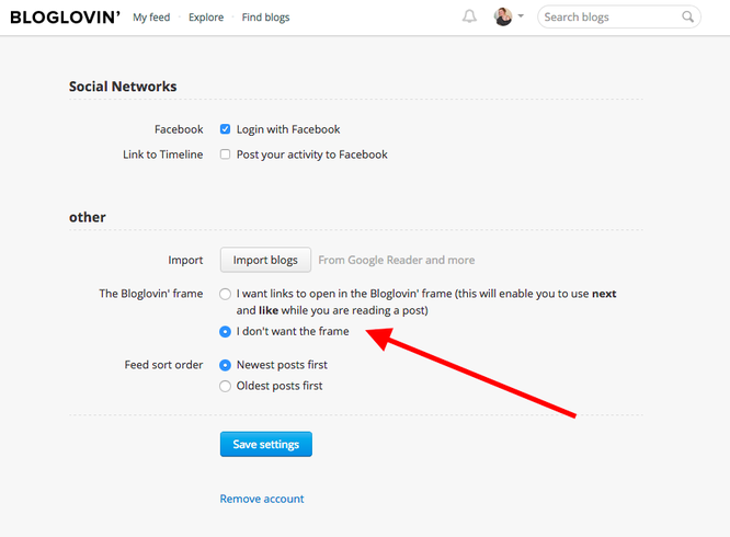 How to Change Bloglovin' Settings so page views count
